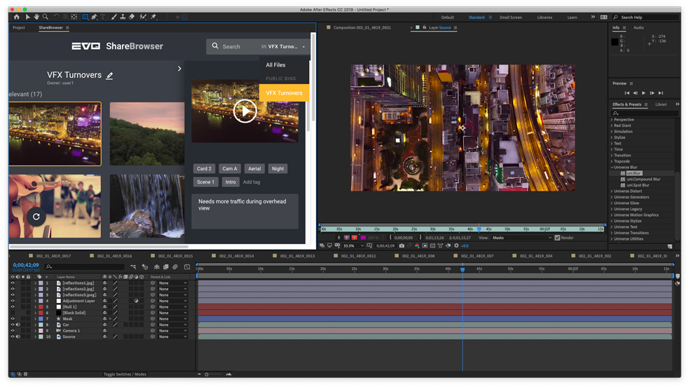 sharebrowser media management after effects extension